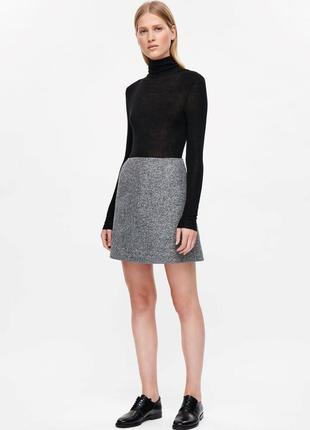 Новая шерстяная теплая юбка голубо-серая laura ashley 12рр