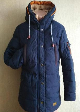 Крутая теплая зимняя куртка пальто парка,р.48
