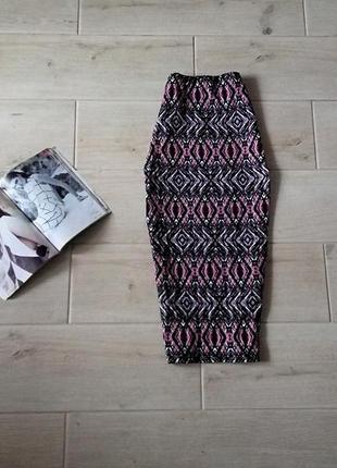 Стильная юбка миди в орнамент завышенная талия р. xs s