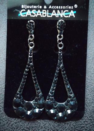 Серебряные серьги с чёрными камнями