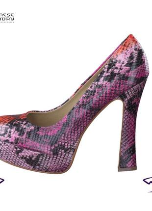 Chinese laundry нарядные яркие эффектные туфли женские на высоком каблуке кожаные