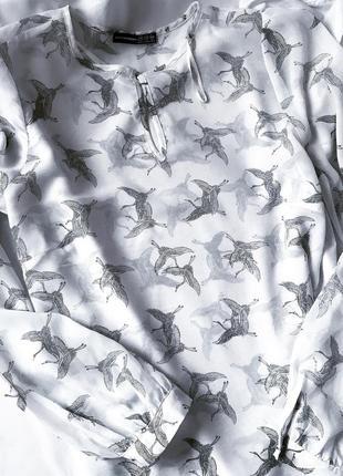 Крутая легкая блуза шифоновая в птички atmosphere l