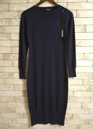 Теплое платье-миди, без горловины