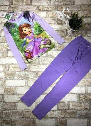 Яркая трикотажная пижама для девочки, комплект с принцессой, реглан и штаны