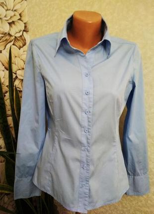 Голубая рубашка, блуза, хлопок. 1+1= 50% скидки на 3ю вещь.