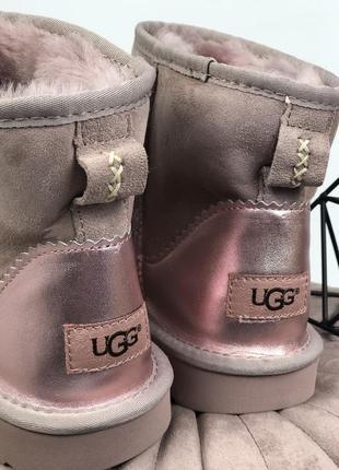 Новинка! шикарные женские зимние угги/ сапоги ugg metalic pink с мехом!