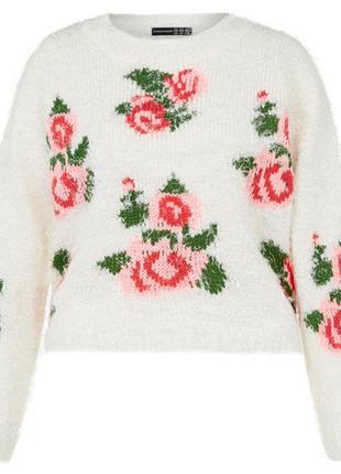 Брендовый свитер травка с вышивкой розами
