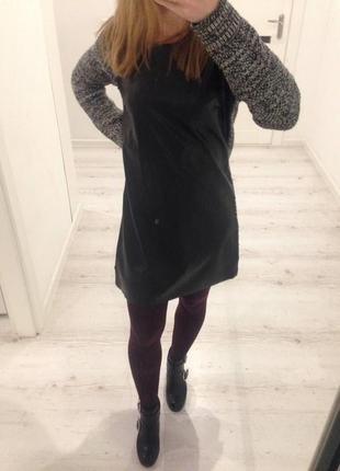 Комбинированное платье от stradivarius (вязаное и кожаное впереди). как раз для зимы)