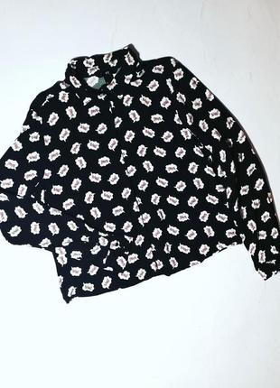 Черная рубашка в принт h&m xs/s
