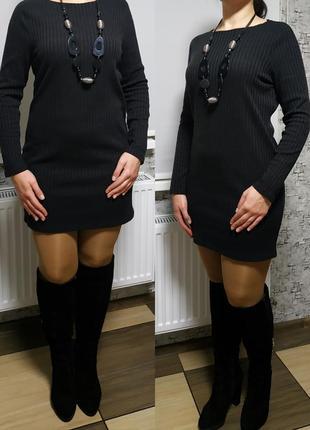 Прямое трикотажное платье, рубчик, длинный рукав