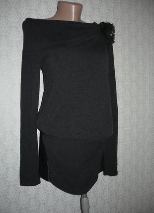 Вечернее черное трикотажное платье, размер м