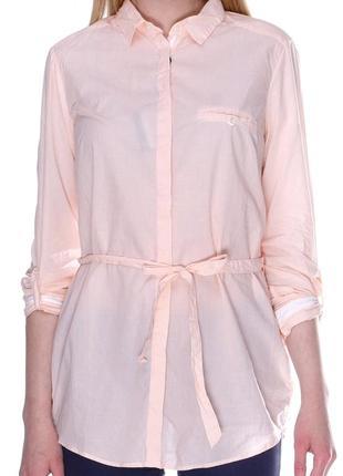Хлопковая длинная рубашка с пояском дорогого бренда massimo dutti в мелкую полоску.