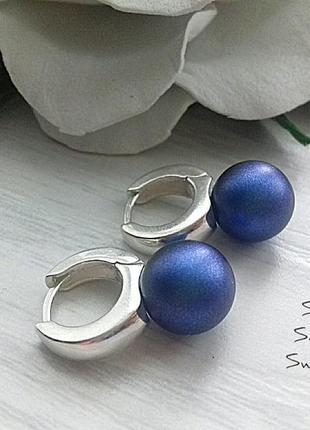 Серебряные серьги с жемчугом сваровски