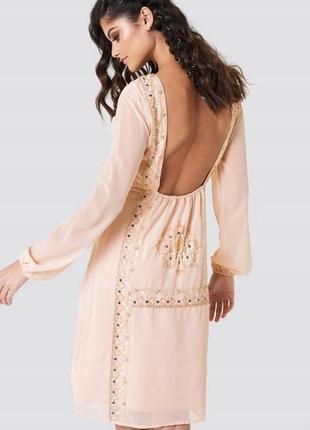 💙🎄✨ новорічний розпродаж! na-kd персикова сукня декорована бісером доставка сутки