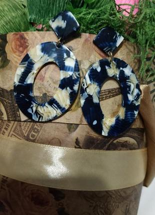 Акриловые серьги в стиле zara сережки акрил геометрия синие