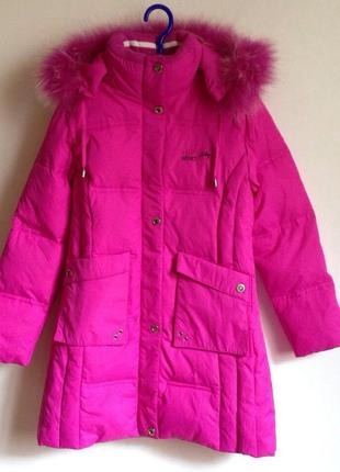 Пальто пуховик розовое