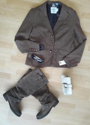 H&mшерстяной пиджак с отделкой под кожу h&m