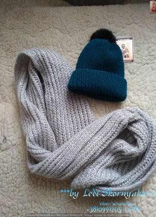 Новая вязанная шапка и хомут