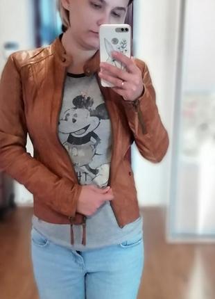 Кожаная куртка oodji