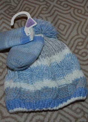 Новый зимний комплект шапка+перчатки nutmeg 3-6 мес рост 62-68 англия