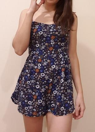 Синий летний комбенизон с шортами в цветочек