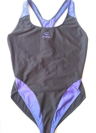 12-14 м-л классный черный спортивный цельный купальник для бассейна