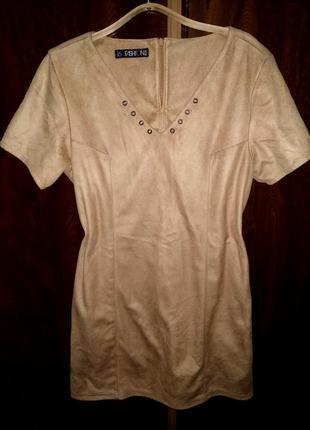 Теплое платье из эко замши