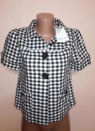 Стильный пиджак блуза в клетку с коротким рукавом, р.8 (10)