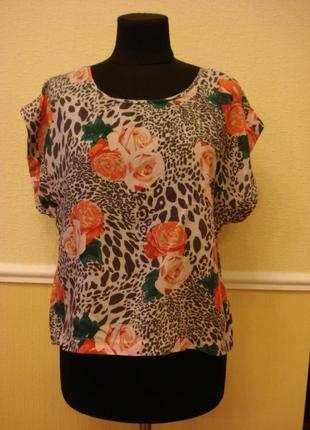 Летняя кофточка блуза с цветочным принтом