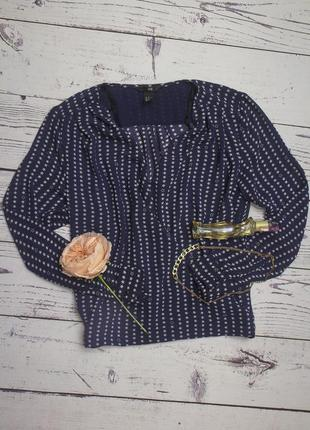 H&m  шикарная синяя шифоновая блуза на запах в звезды