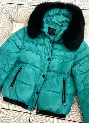 Пуховик женский мех натуральный песец куртка зимняя женская