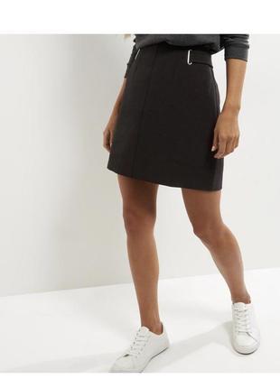 Стильная классическая юбка чёрная трапеция, строгая new look, деловая, офисная