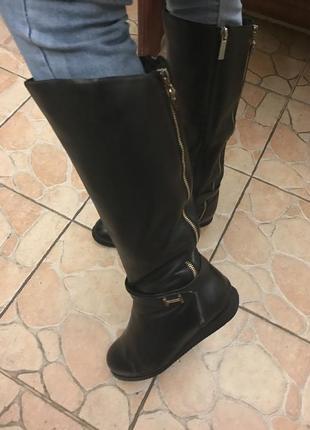 Красивые сапоги ботинки цигейка европейка италия кожа