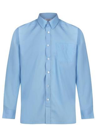 Рубашка голубая офисная деловая сорочка trutex