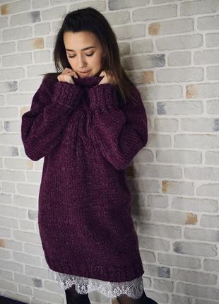 Теплая уютная вязаная туника-платье♥
