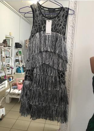 Вечернее платье, нарядное, с бахромой