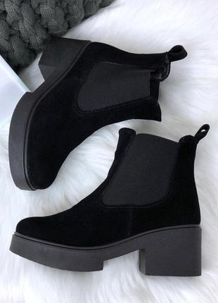 Рр 37 осень по скидке натуральный замш стильные черные ботинки на удобном каблуке