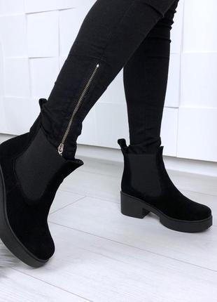 Рр 37 осень по скидке натуральный замш стильные черные ботинки на удобном каблуке4