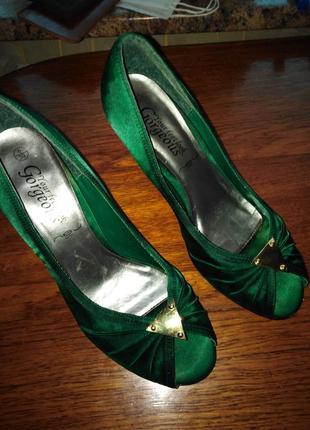 Туфли тёмно-изумрудные