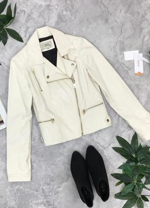 Белоснежная куртка из эко-кожи с нюансом  ov1848182 papaya