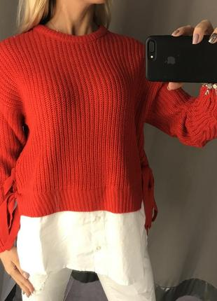 Красный вязаный свитер оверсайз свитерок с имитацией рубашки. amisu.