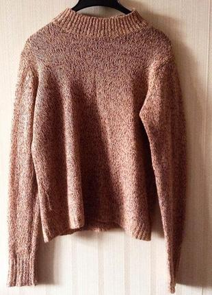 Базовый трендовый свитер бежевый песочный теплый новый шерстяной