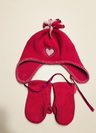 Тёплая шапка флисовая на 2-3 года и рукавицы