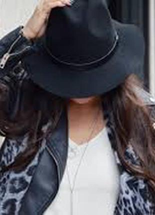 Стильная шляпа федора hm 100% шерсть размер 58