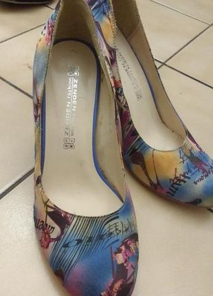 Туфли, каблук 7,5 см, ткань