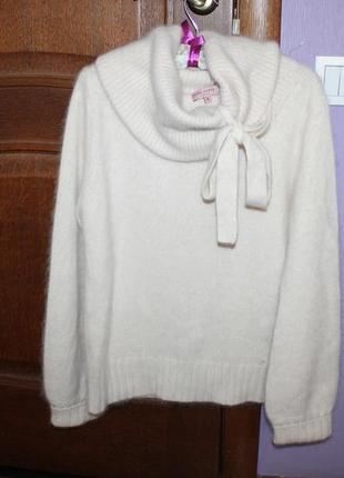 Очень красивый теплый стильный свитер с широким горлом ангора ted baker