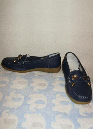 Новые кожаные мокасины/лоферы/туфли 39 размера верх кожа внутри полностью кожа