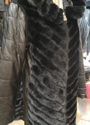 Норковая куртка - пальто - жилет с капюшоном - l - xl - xxl