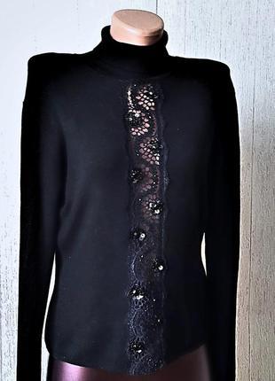 Невероятно роскошный черный свитер .италия.
