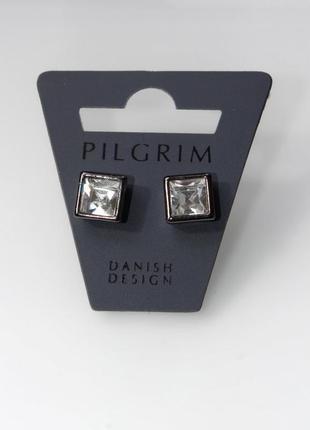 Серьги пусеты с серебряным напылением,кристаллы swarovski,pilgrim,ювелирная бижутерия